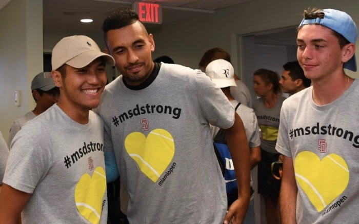 Nick Kyrgios with Stoneman Douglas students at Miami Open