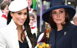 Meghan Markle (L) and Kate Middleton