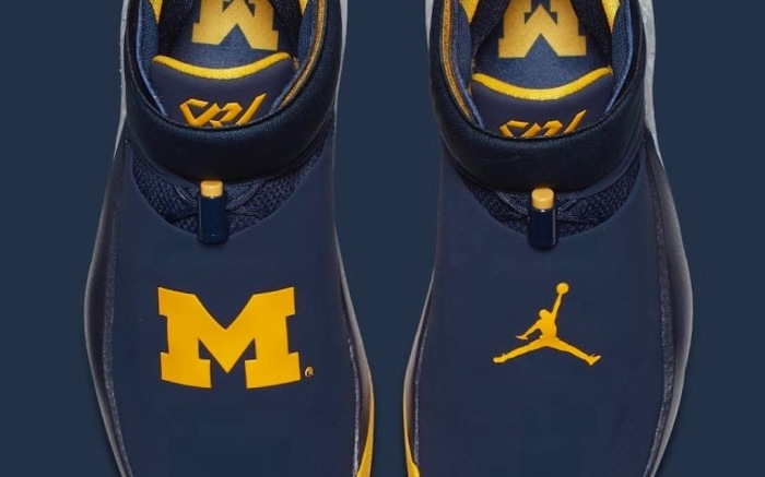University of Michigan Jordan player edition sneakers.