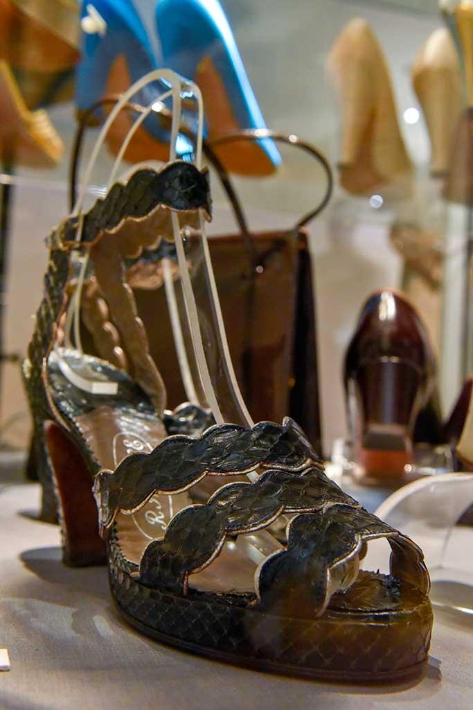 Silver gilt-trimmed black reptile open-toe platform sandals, c. 1947