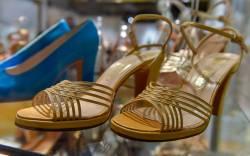 Yellow platform soled plastic open-toe sandals,