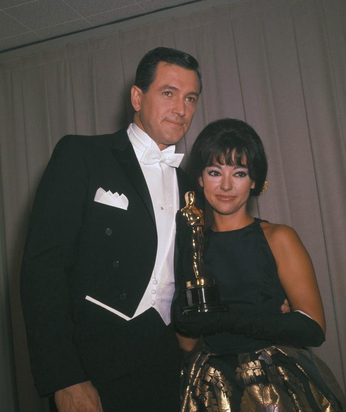 Rock Hudson and Rita Moreno in 1962, oscars