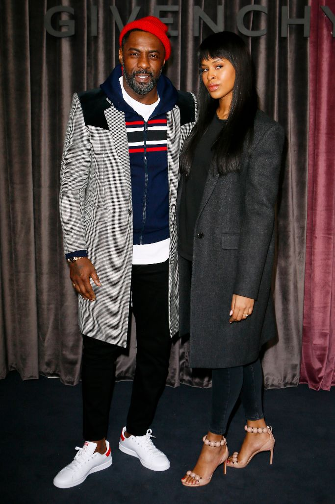 idris elba, Sabrina Dhowre, givenchy, front row, paris fashion week