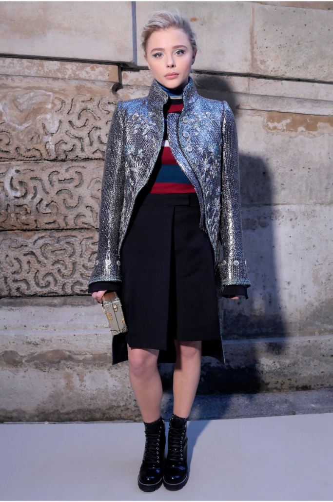 chloe grace moretz, paris fashion week, front row louis vuitton