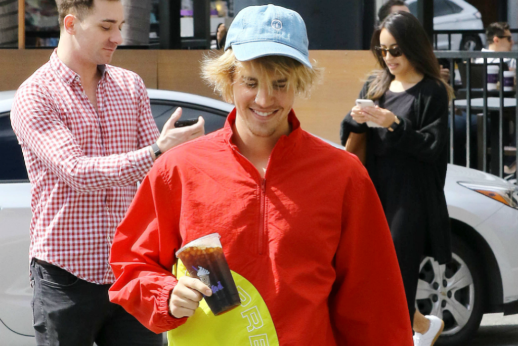 Justin Bieber Spots All-Red Look