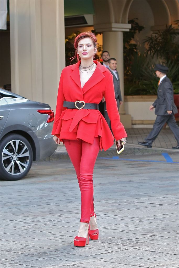 Bella Thorne is the woman in Red as she arrives at the Four Seasons Hotel in L.A.