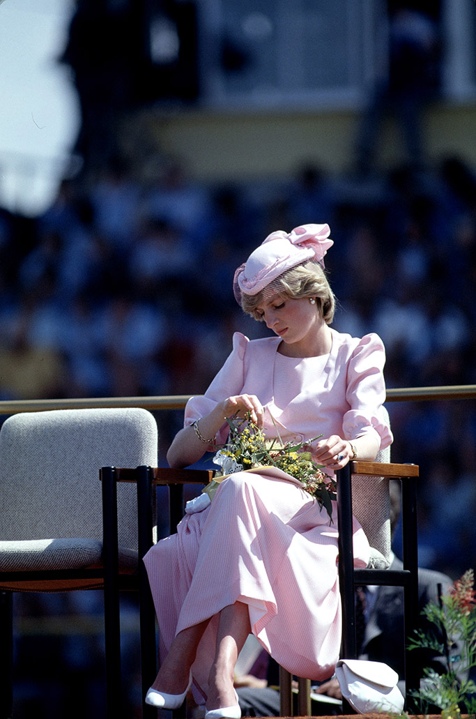 princess diana, all pink look, british royal tour of australia, 1983