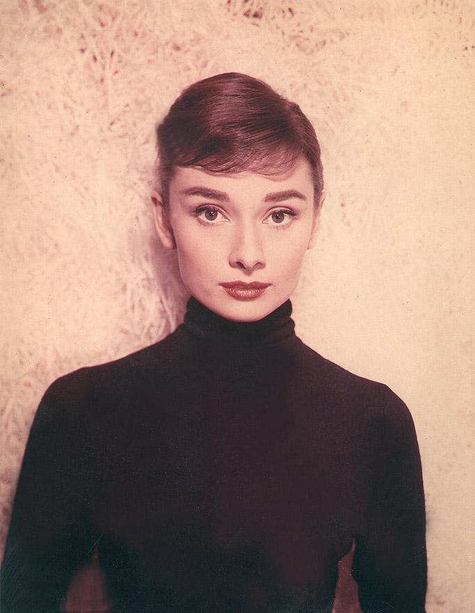 stylish iconic women, audrey hepburn, black turtleneck