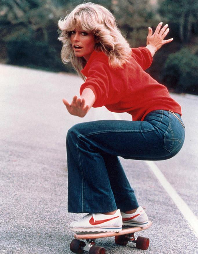 iconic stylish women, farrah fawcett, nike cortez sneakers, charlies angles
