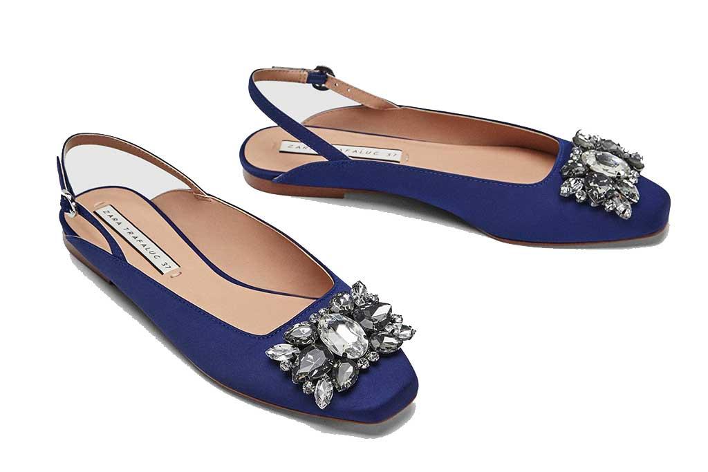 Zara bejeweled slingback shoes