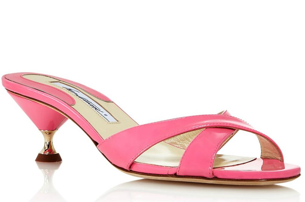 Brian Atwood Cinzia Patent Leather Kitten Heel Slide Sandals