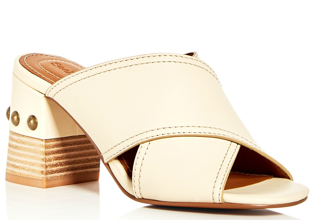 See by Chloé Leather Crisscross Block Heel Slide Sandals