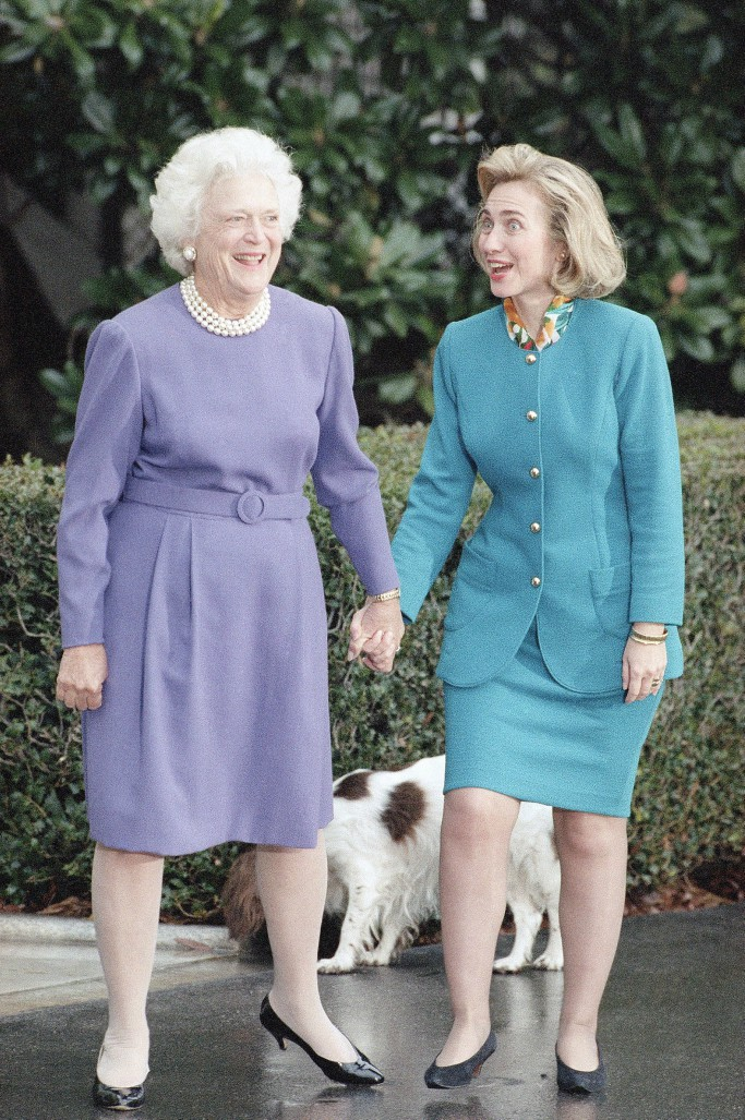 barbara bush, hillary clinton