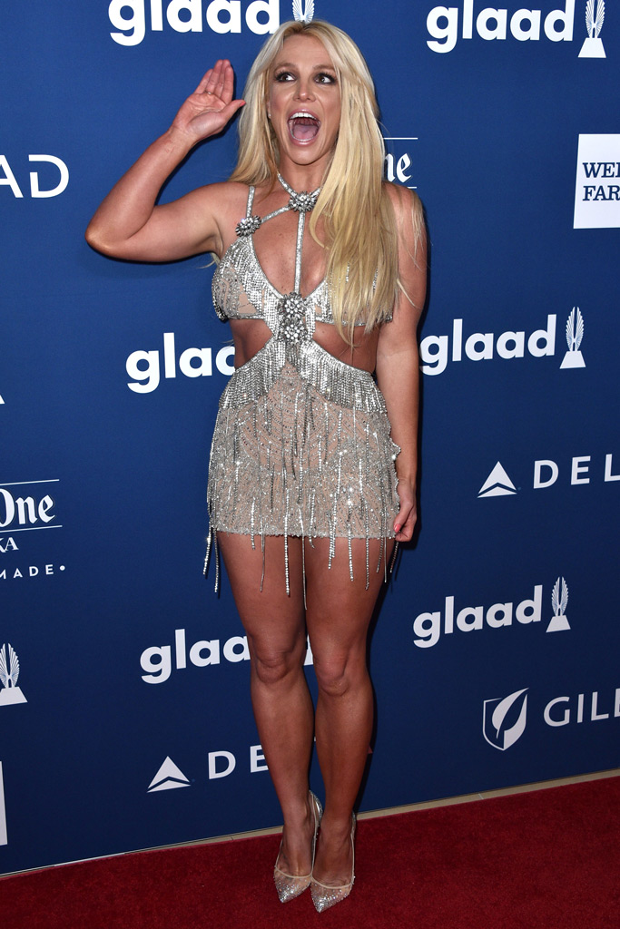 britney spears, glaad awards, minidress, christian louboutin pumps