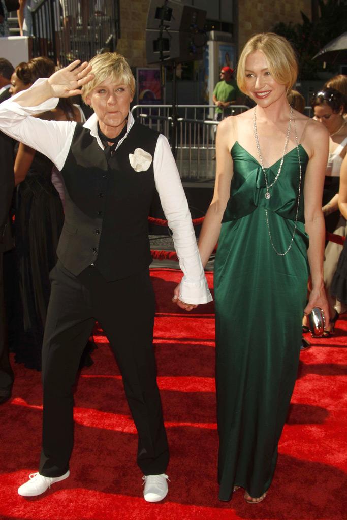 llen DeGeneres, Portia Di Rossi, Tyra Banks, red carpet, daytime emmys, 2008
