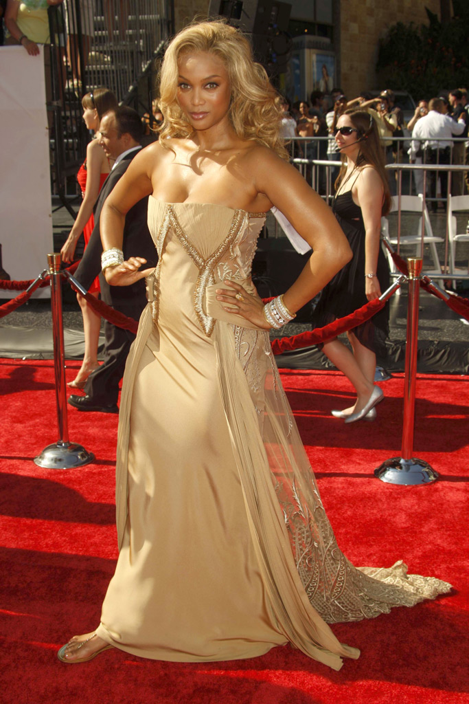 tyra banks, emmy awards, red carpet style