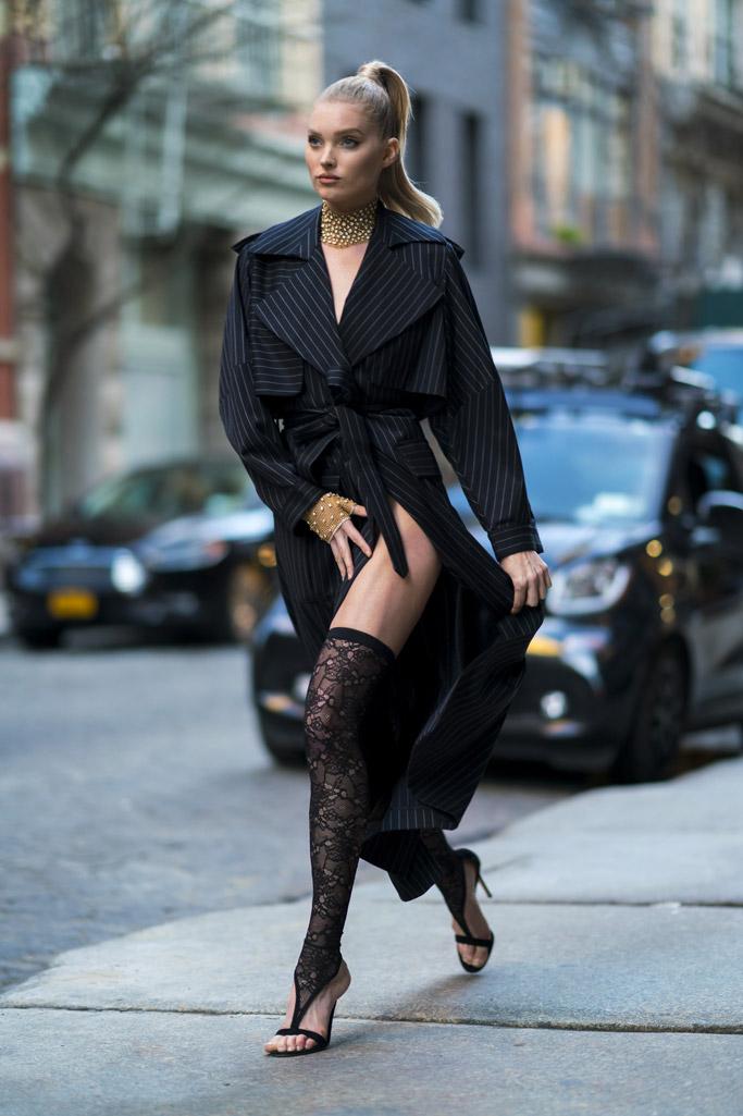 Elsa Hosk wears Gianvito Rossi heels, wardrobe malfunction