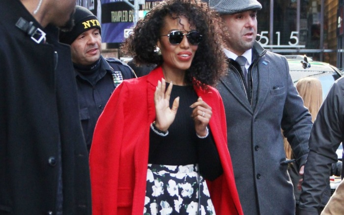 Kerry Washington makes an appearance on 'Good Morning America' TV show in New York.