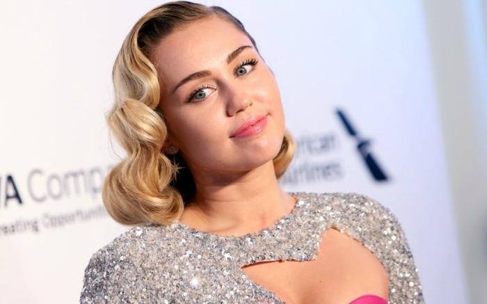 Miley Cyrus attends the Elton John AIDS Foundation Academy Awards viewing party.