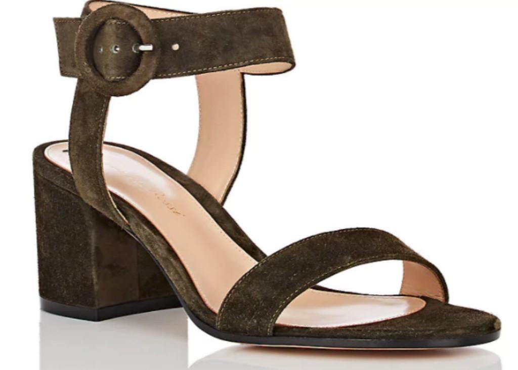 Gianvito RossiBlock-Heel Suede Sandals
