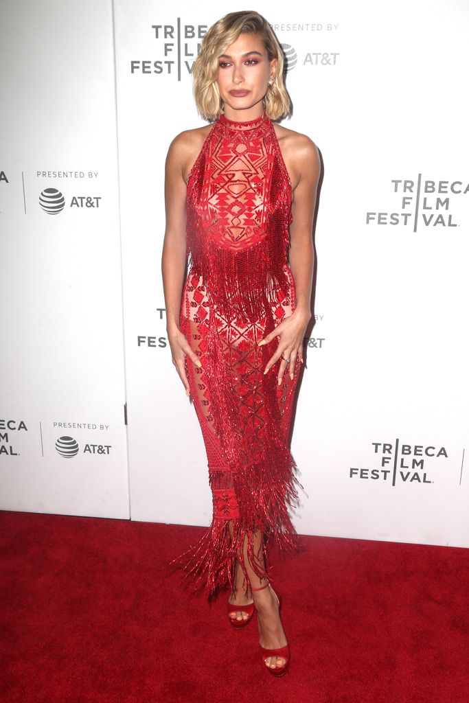 hailey baldwin, sheer dress, red carpet, tribeca film festival, american meme