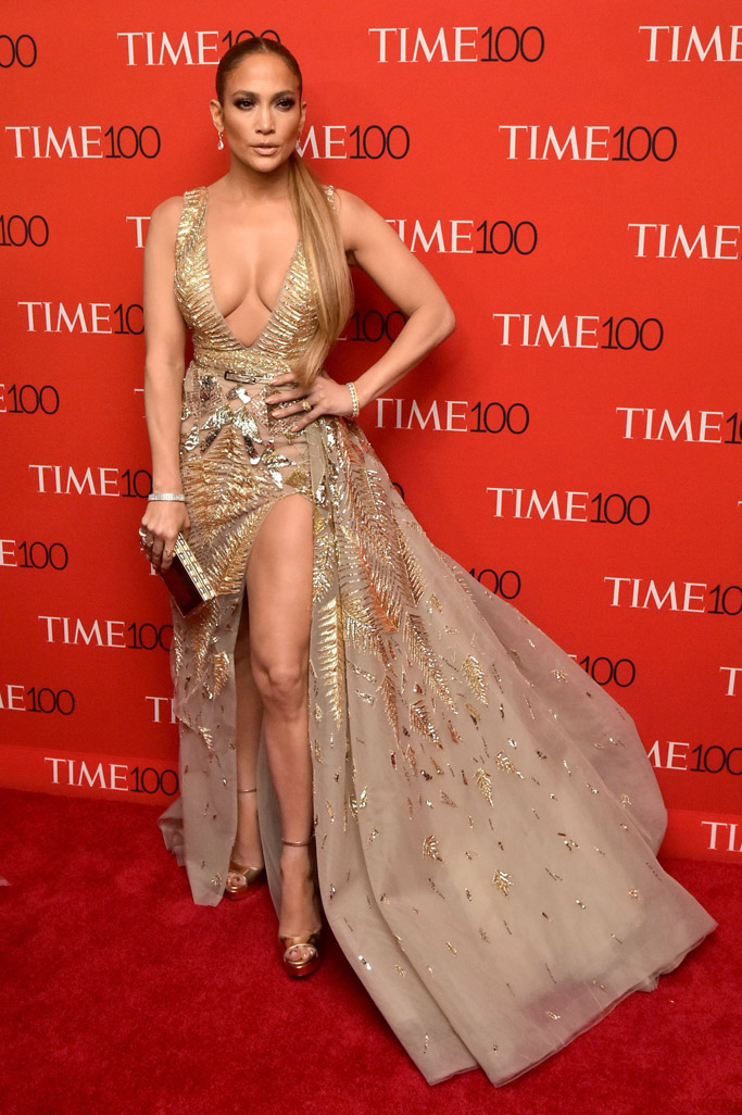 Jennifer Lopez, time 100 gala, gold dress