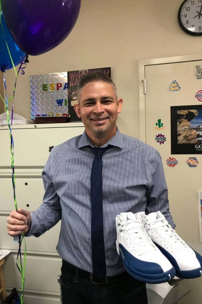 jordan sneakers, students surprise teacher, joe laura