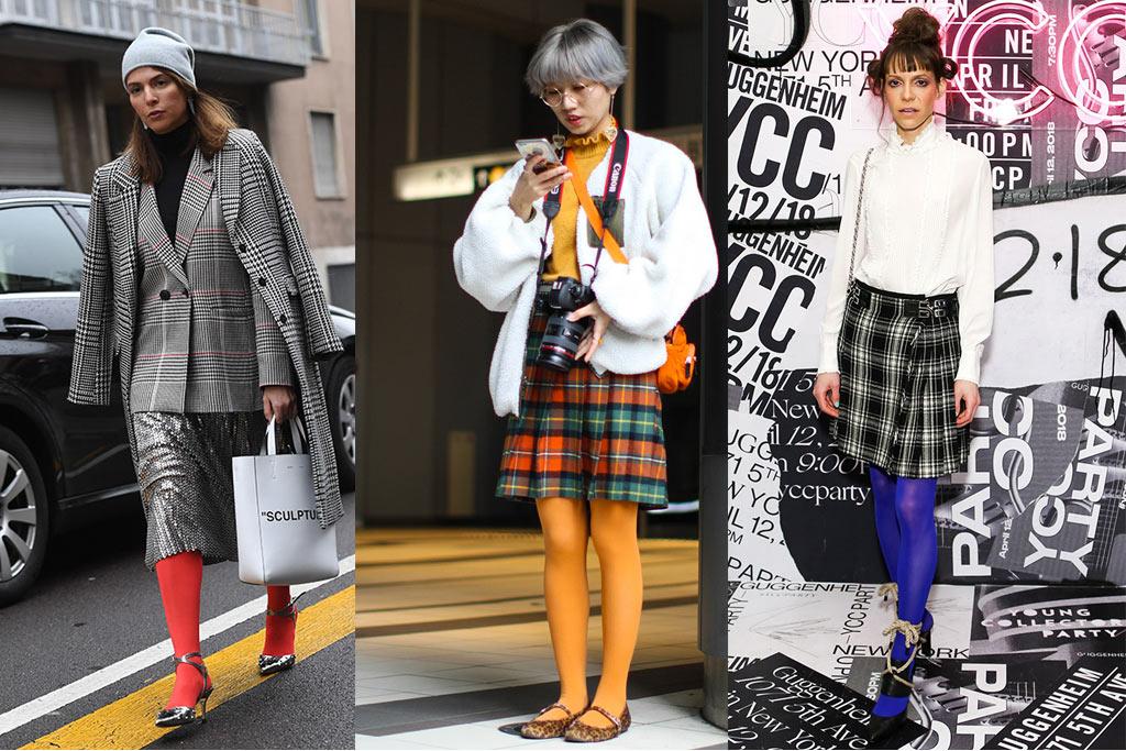 street style, fashion week, fall 2018, legwear trend, fashion tights