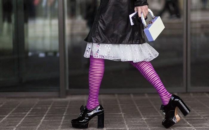 street style, london fashion week, fall 2018, legwear trend, fashion tights