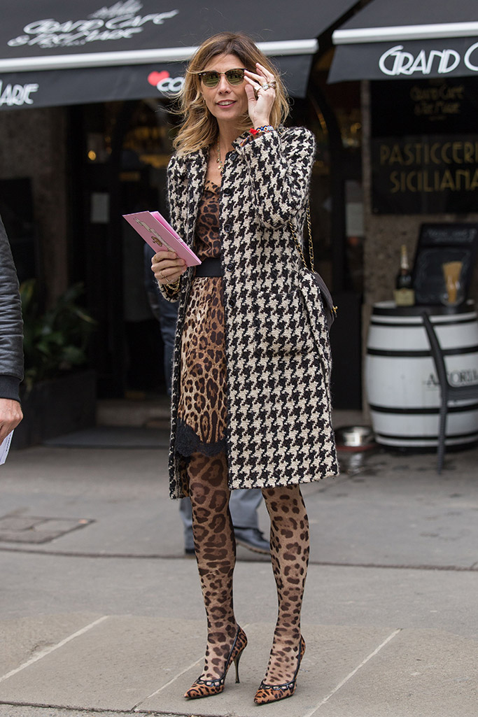 street style, milan fashion week, fall 2018, leopard tights, legwear trend