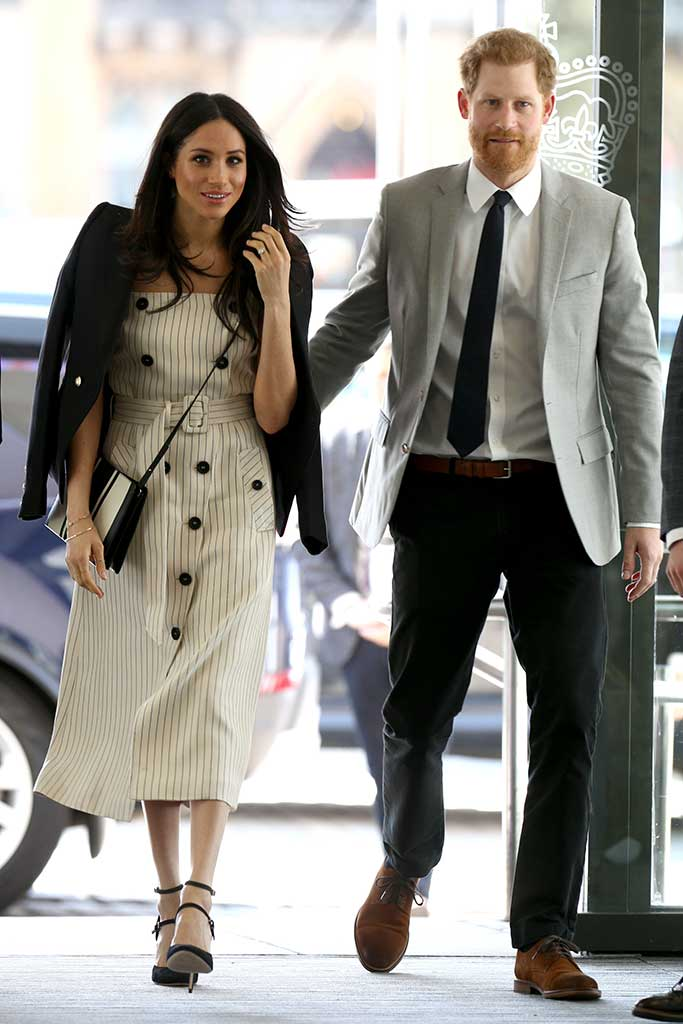 Meghan Markle and Prince Harry in London monochrome stripes
