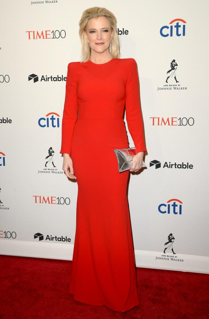 megyn kelly, red carpet, red dress, time 100 gala 2018
