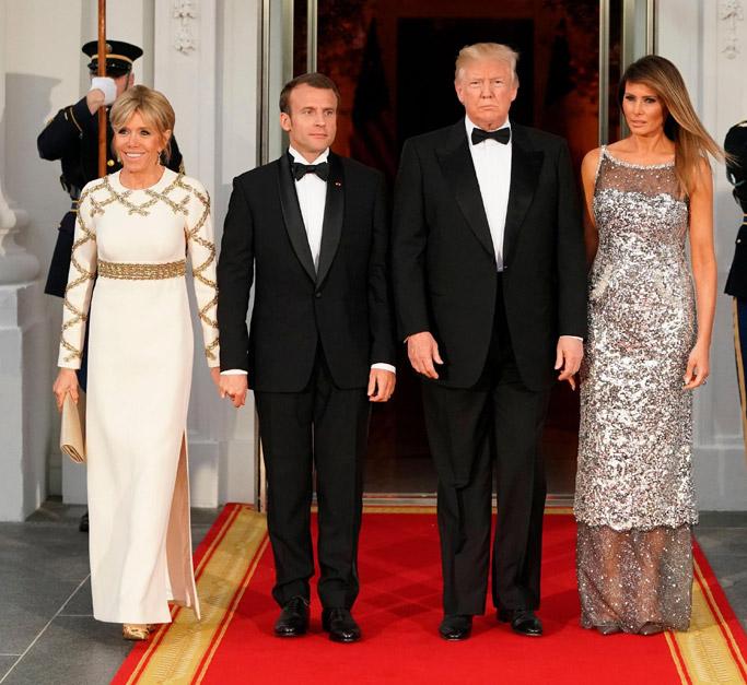 Brigitte Macron, Emmanuel Macron, Donald Trump, Melania Trump dress, state dinner