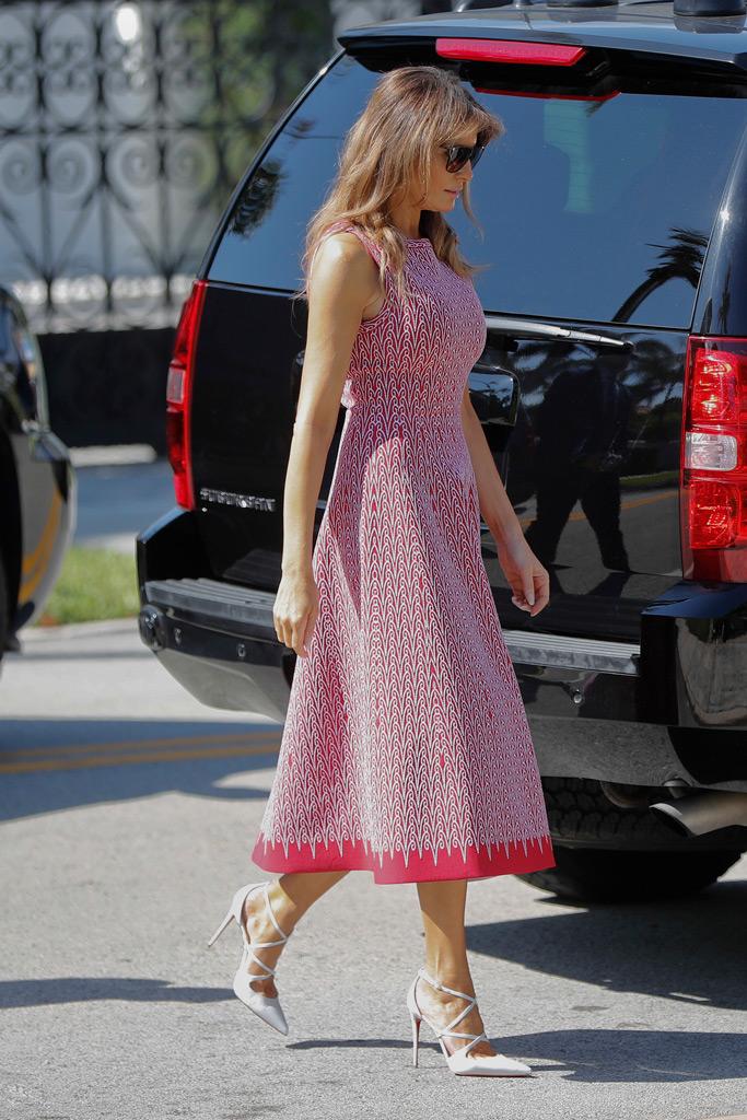 melania trump, easter sunday, dress, white high heels,