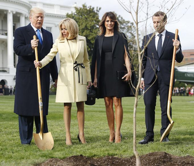 Donald Trump, Brigitte Macron, Melania Trump, Emmanuel Macron