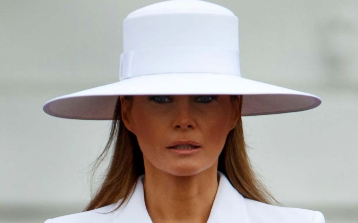 Melania Trump hat, white suit