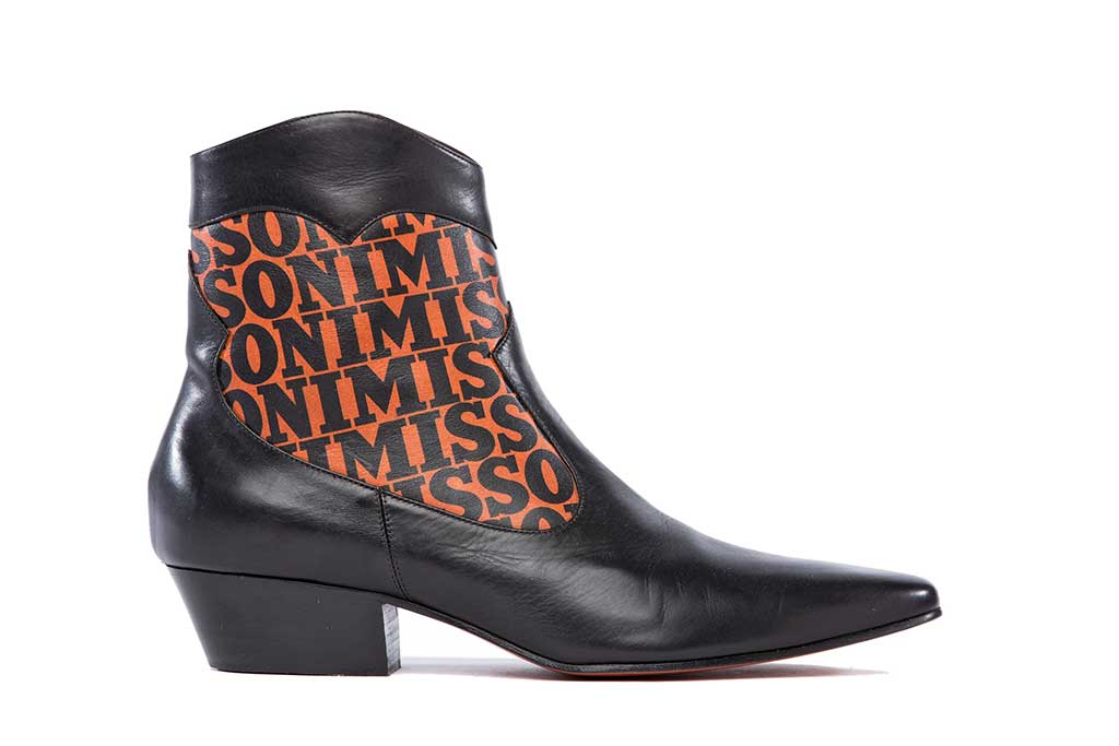 A logo Western boot from the Missoni prefall 2018 capsule collection.
