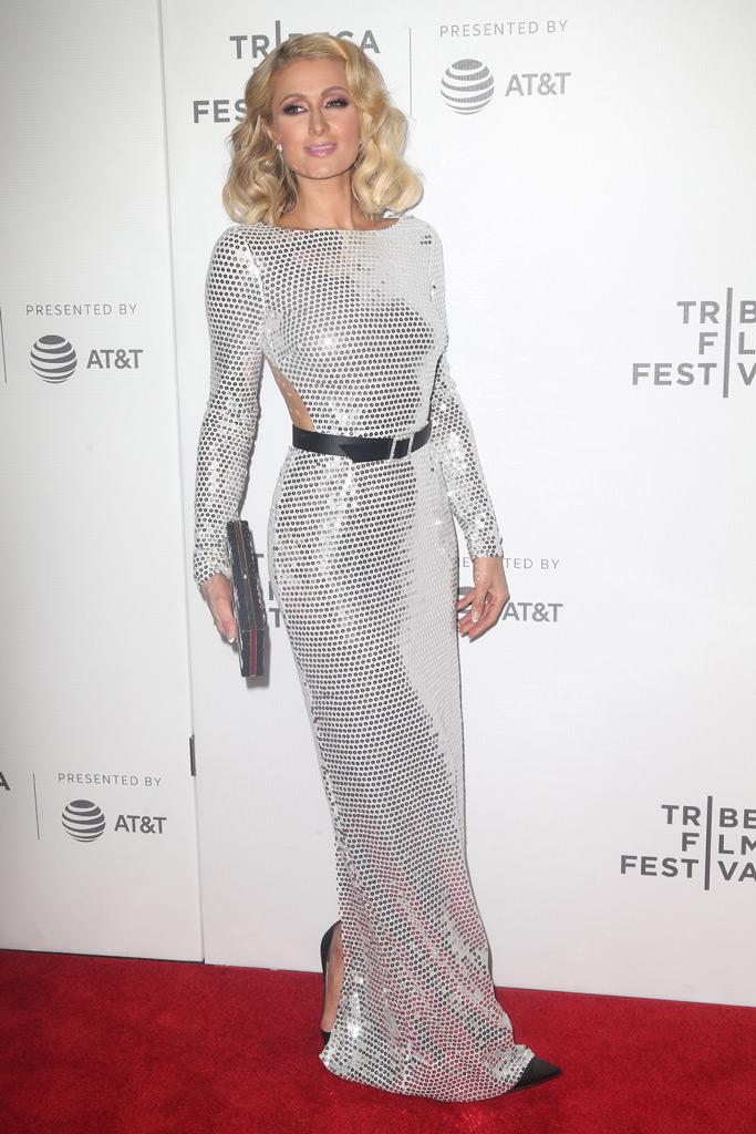 paris hilton, tribeca film festival, american meme, silver dress