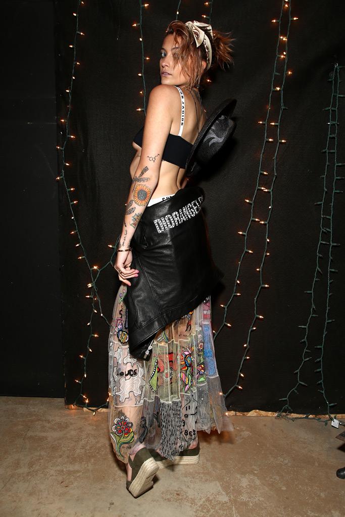 paris jackson, dior sauvage, bra, sheer skirt, coachella