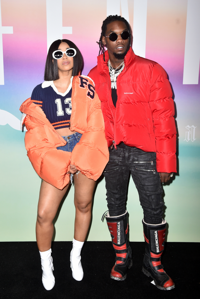 Cardi B and Offset in the front row at the Fenty Puma by Rihanna show last fall