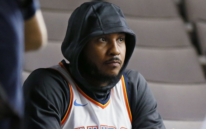 Oklahoma City Thunder forward Carmelo Anthony waits for an interview to begin during an NBA basketball media day in Oklahoma CityThunder Basketball Media Day, Oklahoma City, USA - 25 Sep 2017