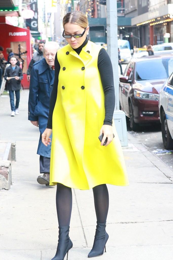Rita Ora rocks black Balenciaga ankle boots in the Big Apple.