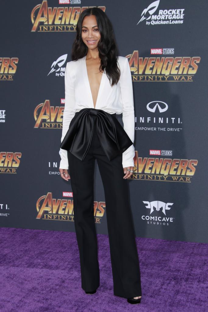 jimmy choo, zoe saldana, avengers premiere, red carpet