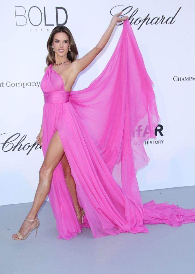 Alessandra ambrosio, pink gown red carpet cannes rene caovilla