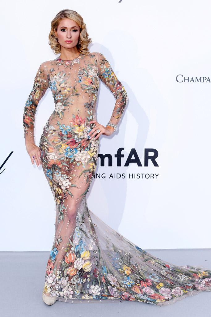 nicolas jebran dress, nude illusion, paris hilton, amfar 2018 gala, cannes
