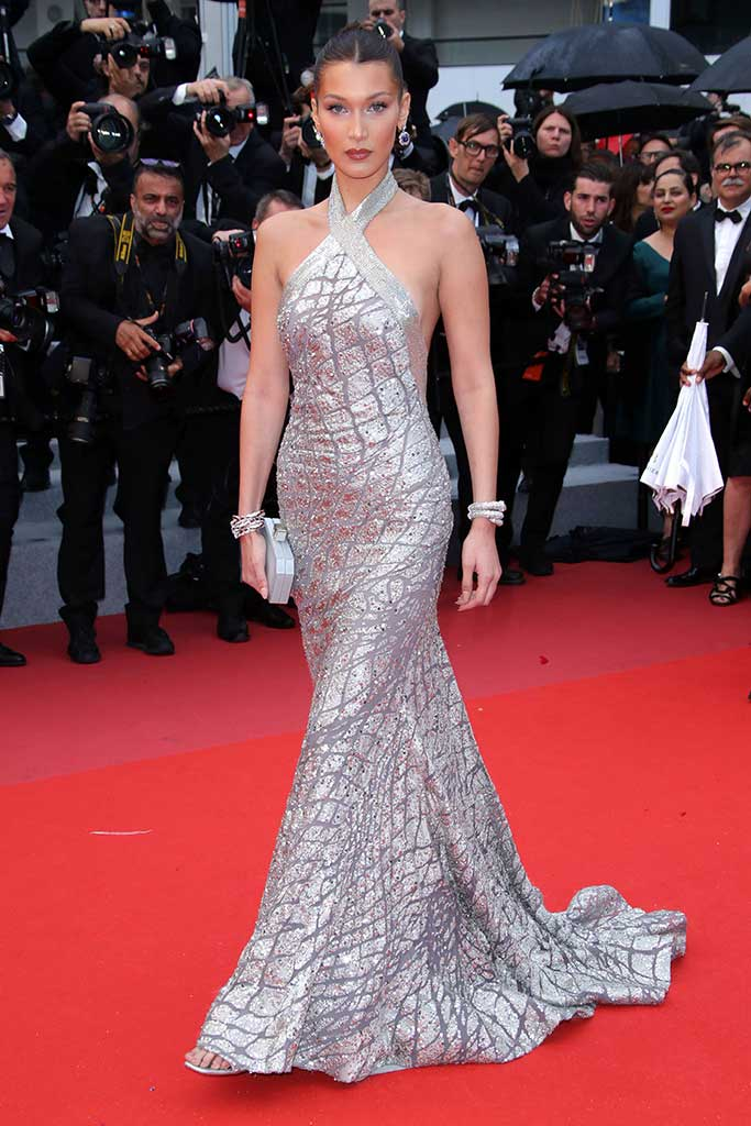 Bella Hadid attends the BlaKkKlansman premiere at Cannes Film Festival.