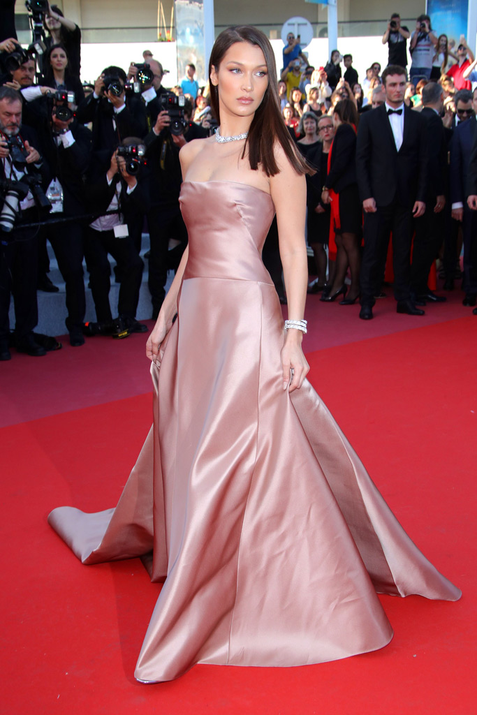 bella hadid, cannes film festival, dior dress
