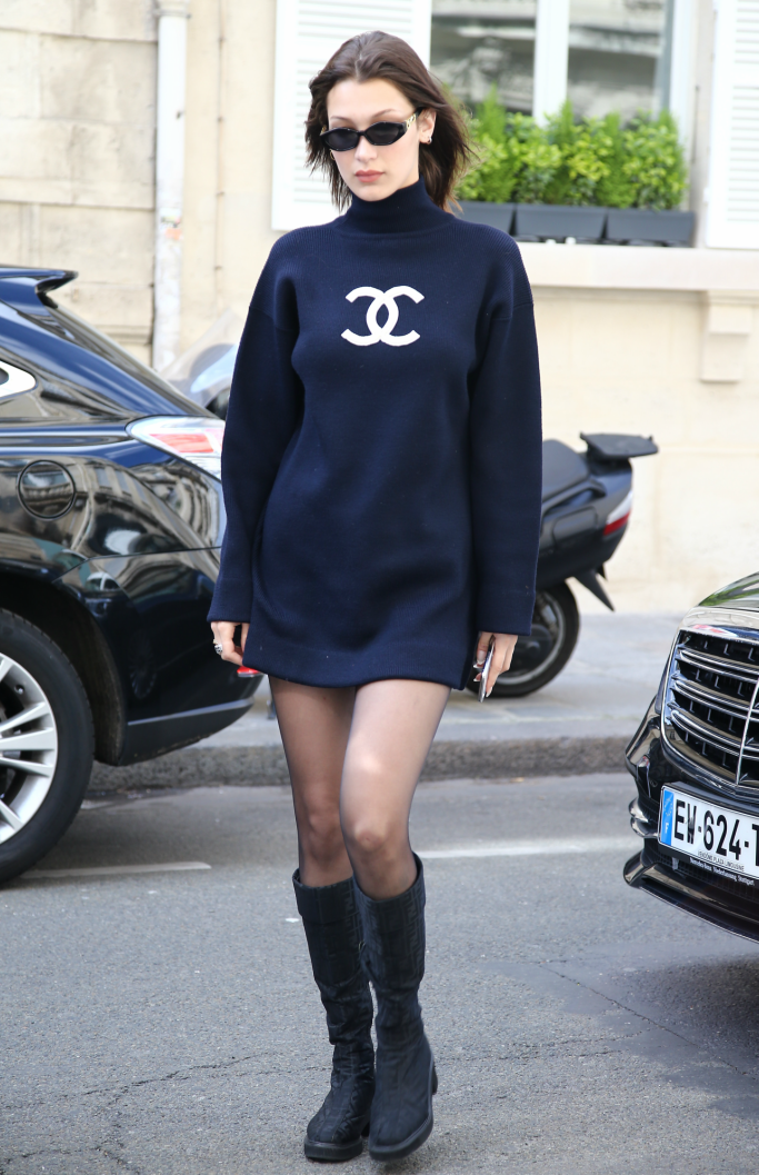 bella hadid, chanel, fendi boots