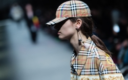Burberry check print on the runway