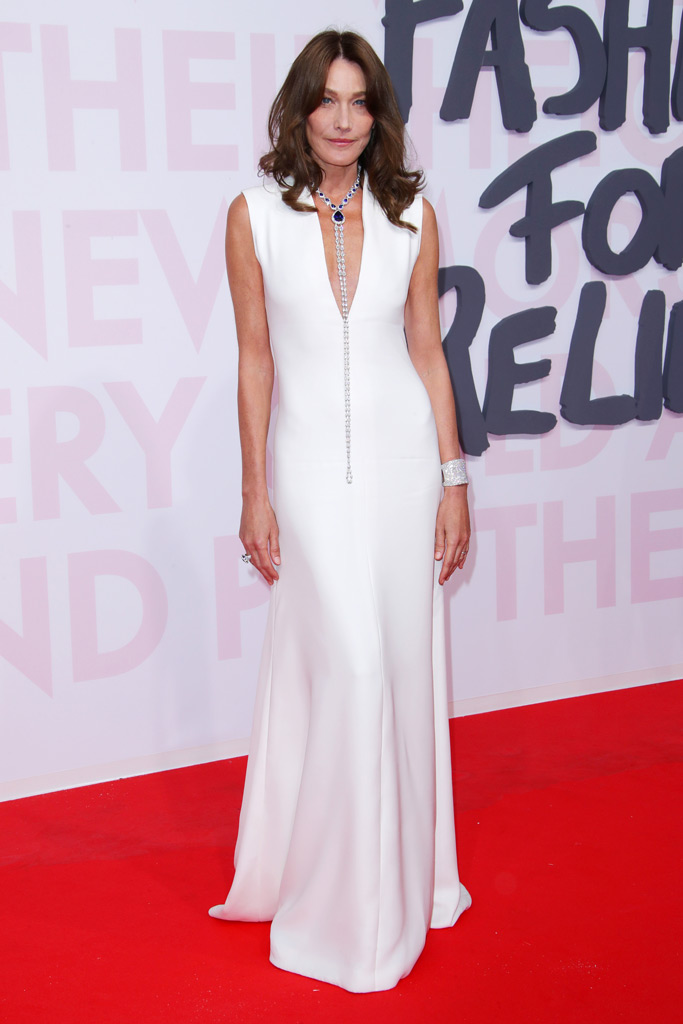 carla bruni, white gown, cannes film festival, fashion for relief